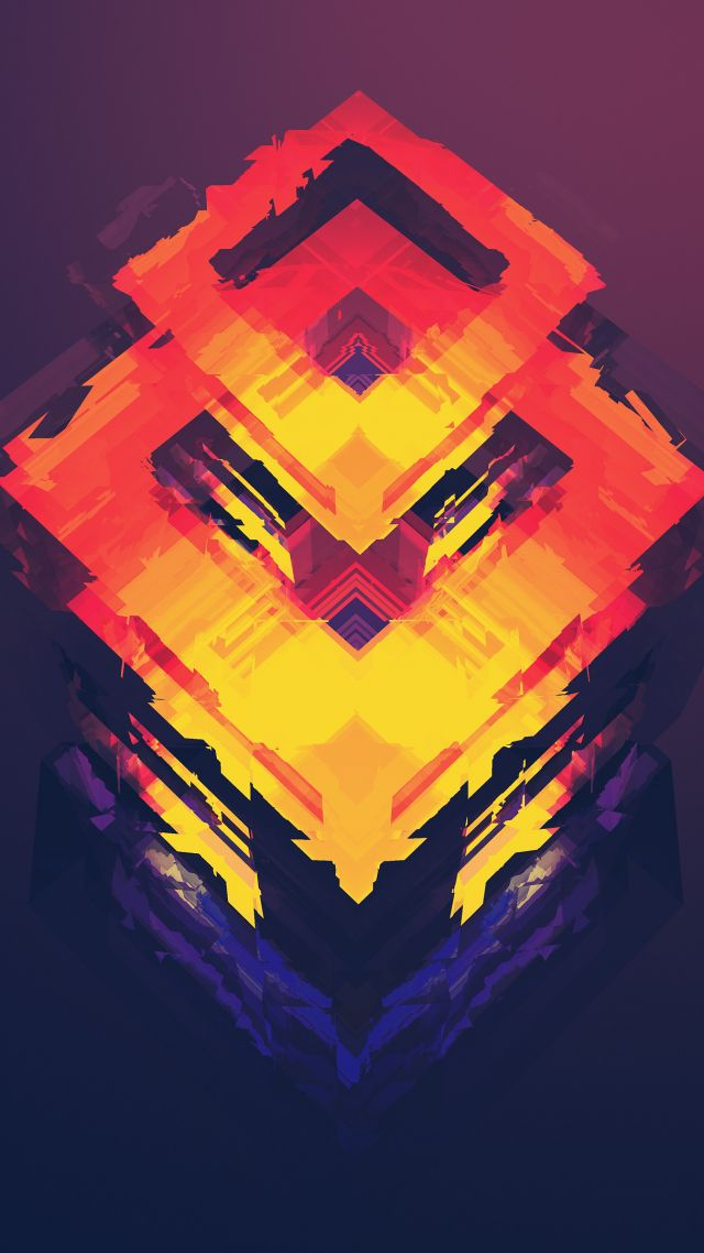 Abstract Polygon 4k 5k Iphone Wallpaper Android Orange