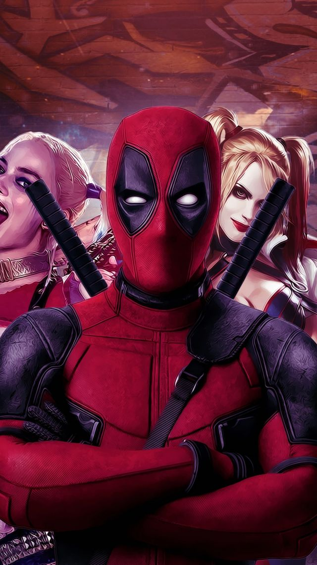 Deadpool, Harley quinn, Suicide Squad, art, Margot Robbie, Best Movies of 2016 (vertical)