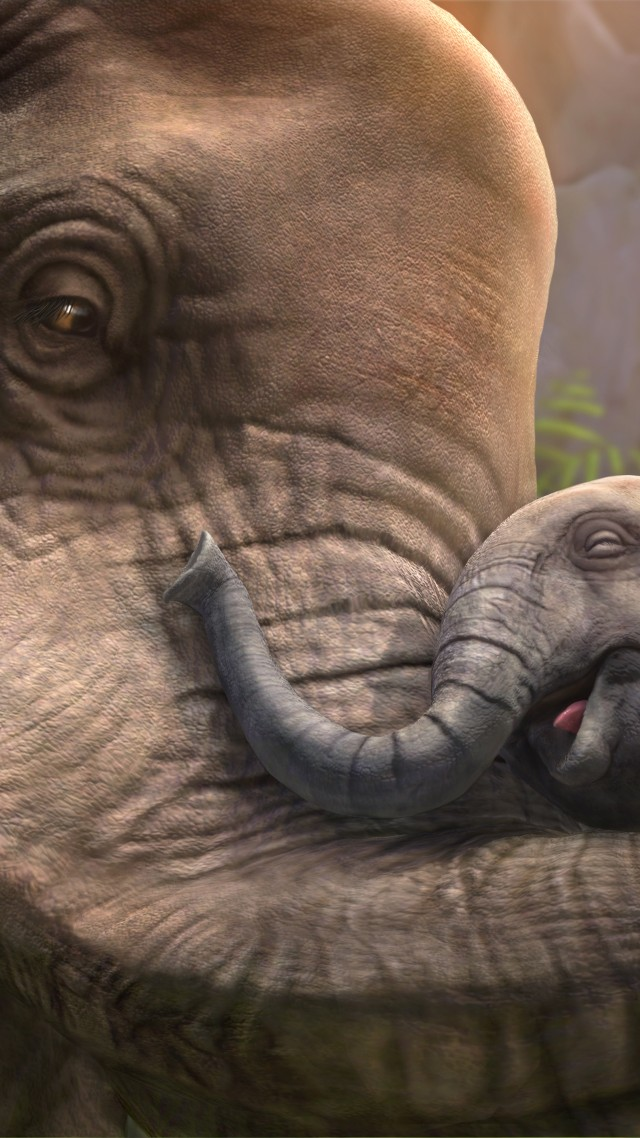Elephant, cub, zoo tycoon, animals, grey, art, tourism (vertical)