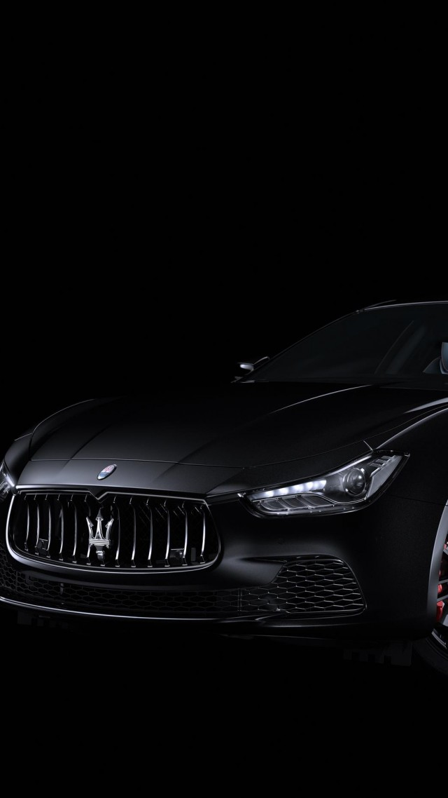 Maserati Ghibli Nerissimo, sport car, black, 2017 New York Auto Show (vertical)