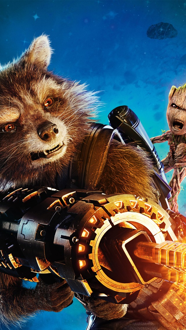 Guardians of the Galaxy Vol. 2, Baby Groot, Rocket, gun, best movies (vertical)