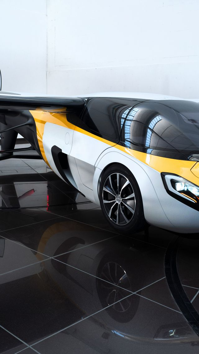 AeroMobil 3.0, concept, aircraft, flying car, runway, front, test drive (vertical)