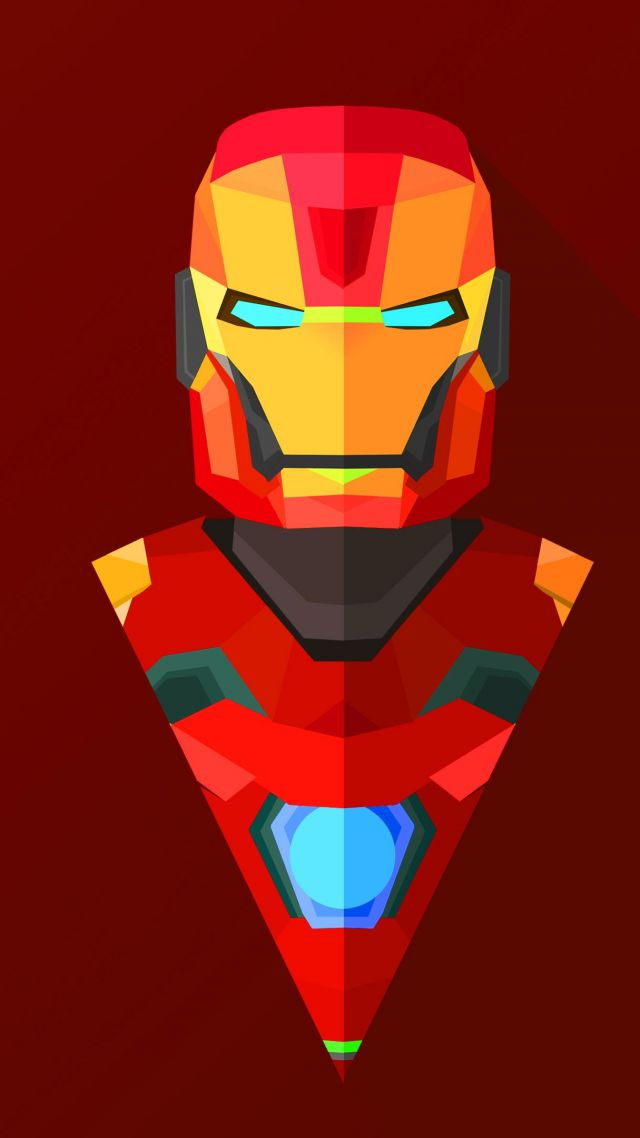 Iron Man, abstract, low poly, minimalism, 4k, 5k, iphone wallpaper (vertical)