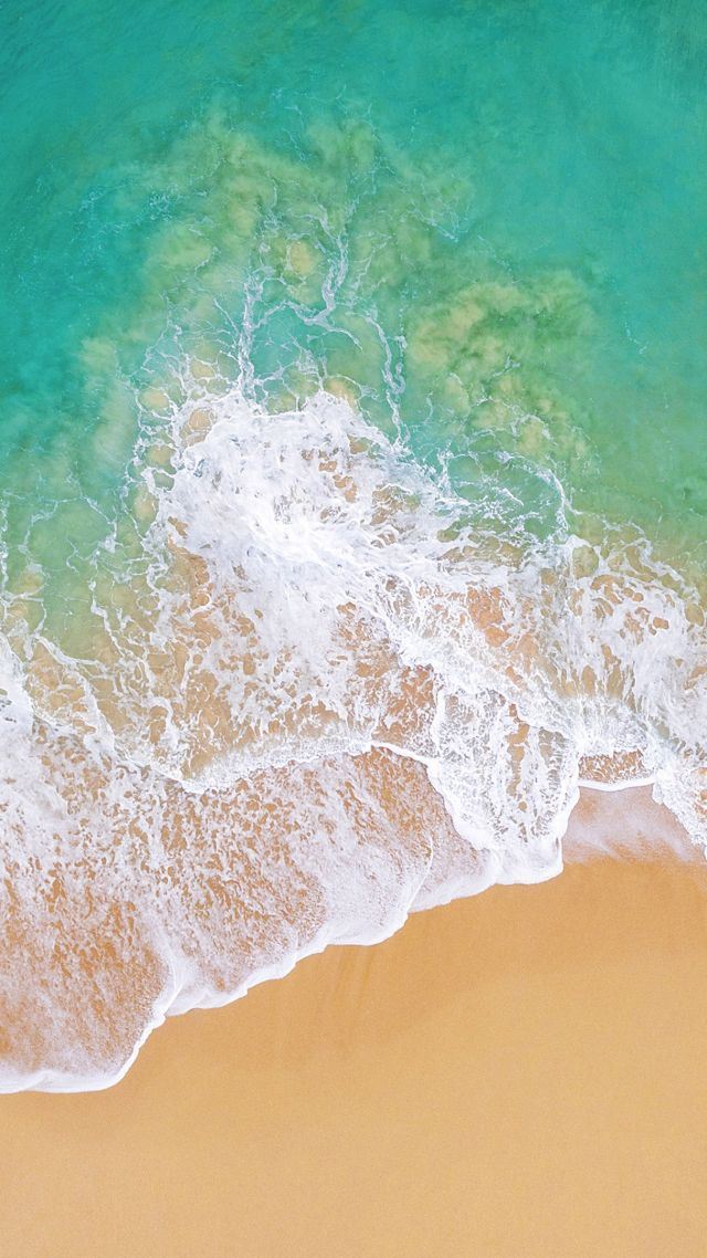 Wallpaper iOS 11, 4k, 5k, beach, ocean, OS 13655