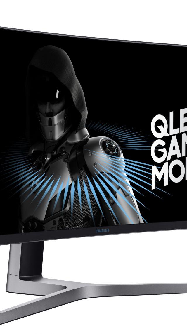 Wallpaper Samsung C49HG90, QLED Gaming Monitor, 5k, E3