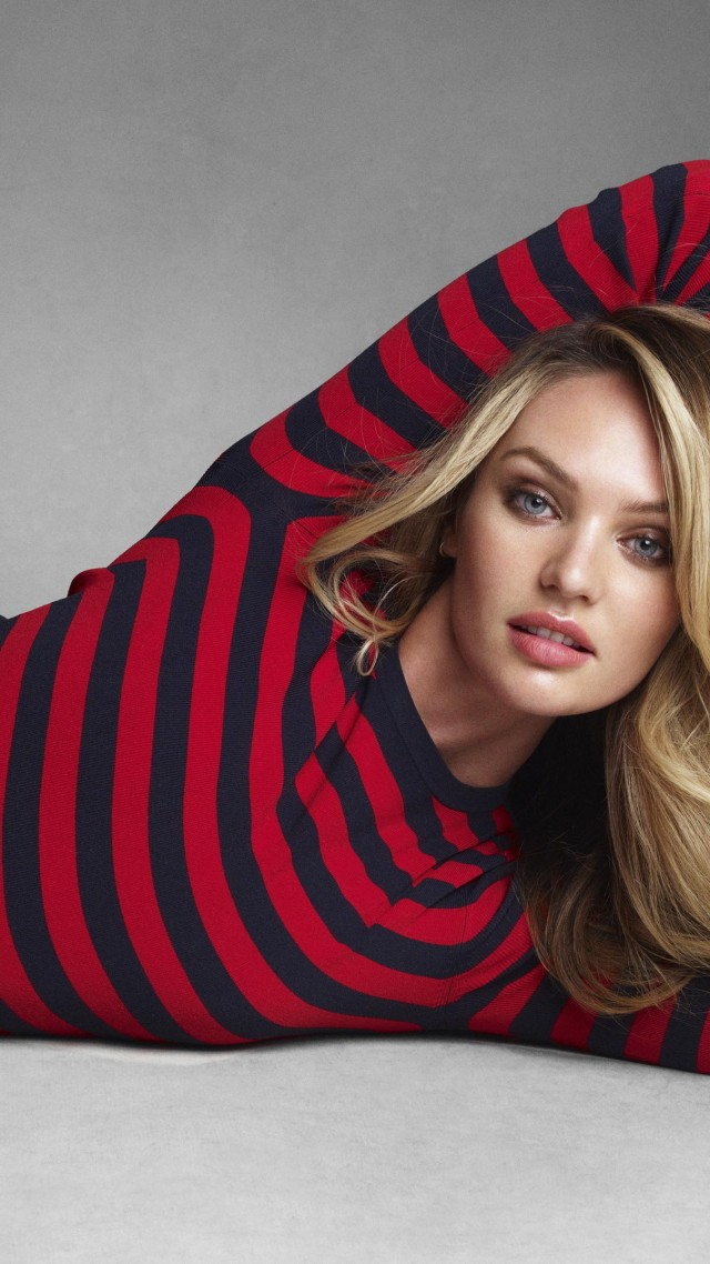 Candice Swanepoel, model, Victoria's Secret Angel, blonde, red shirt, white (vertical)