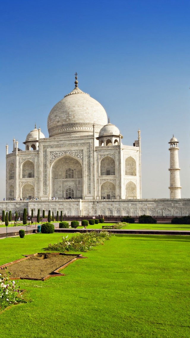 Taj Mahal, India, temple, castle, travel, tourism, 6k (vertical)