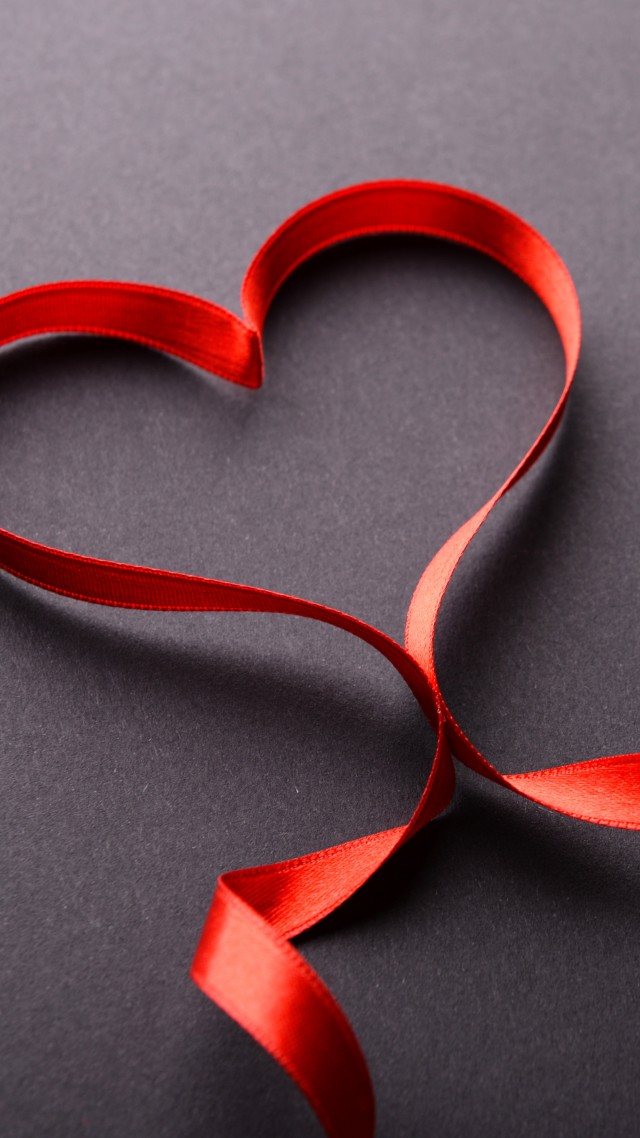 love image, heart, ribbon, 5k (vertical)