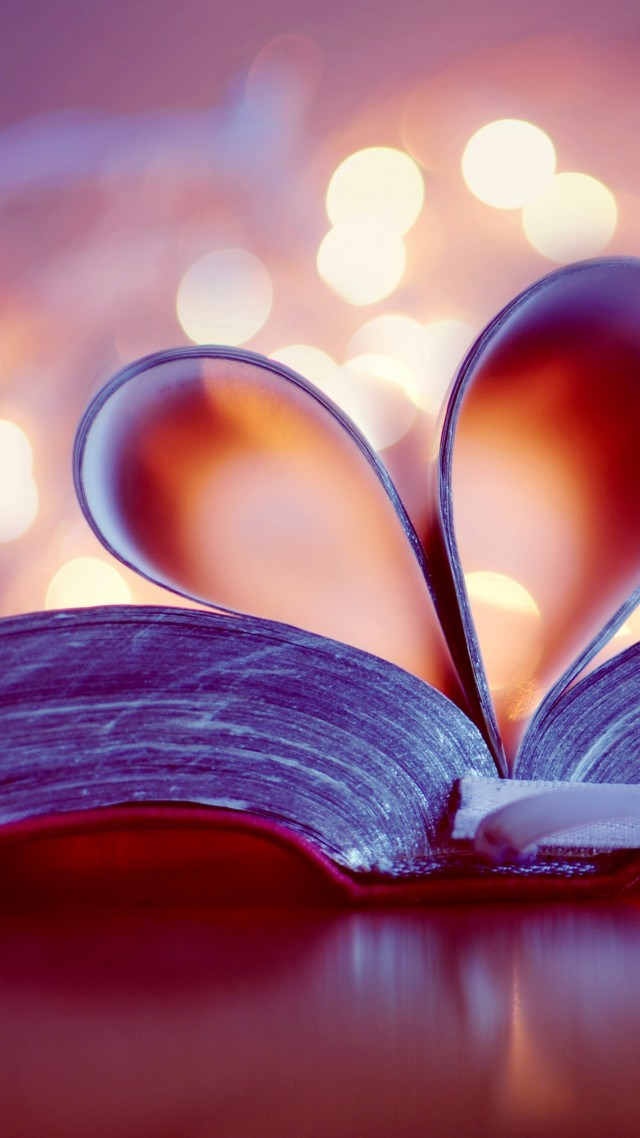 love image, heart, book, 4k (vertical)