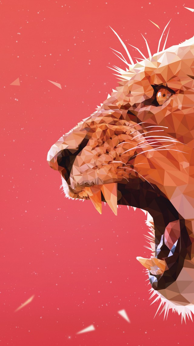 Wallpaper Lion Art 5k Animals 14972