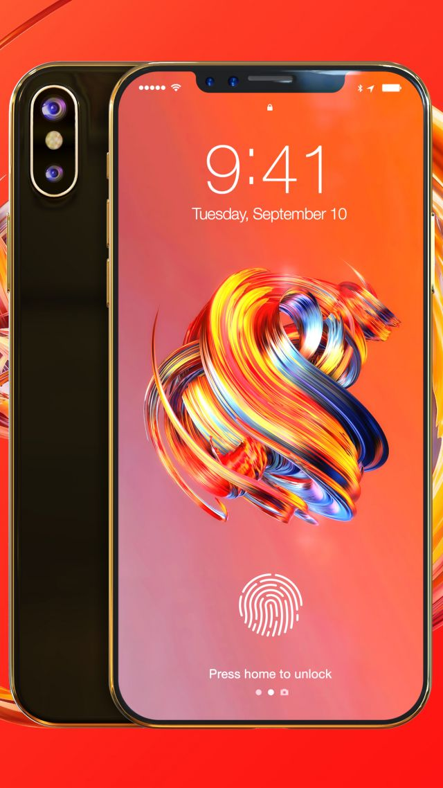iPhone 8, gold, 3D, leaked, WWDC 2017, 4k (vertical)