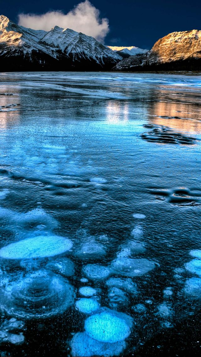 Wallpaper Abraham Lake Canada Mountain Ice 4k Nature
