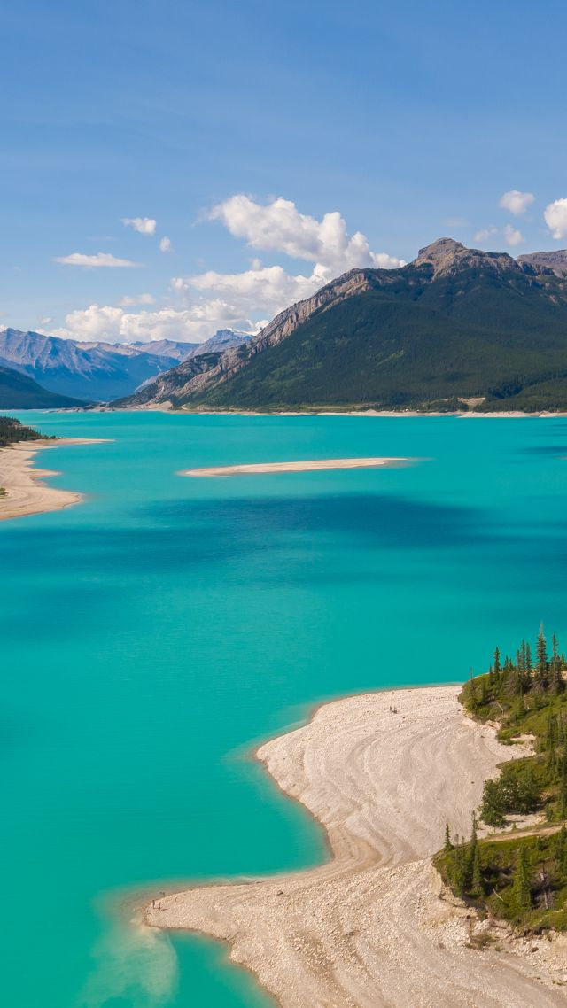 wallpaper abraham lake  canada  mountain  nature  4k