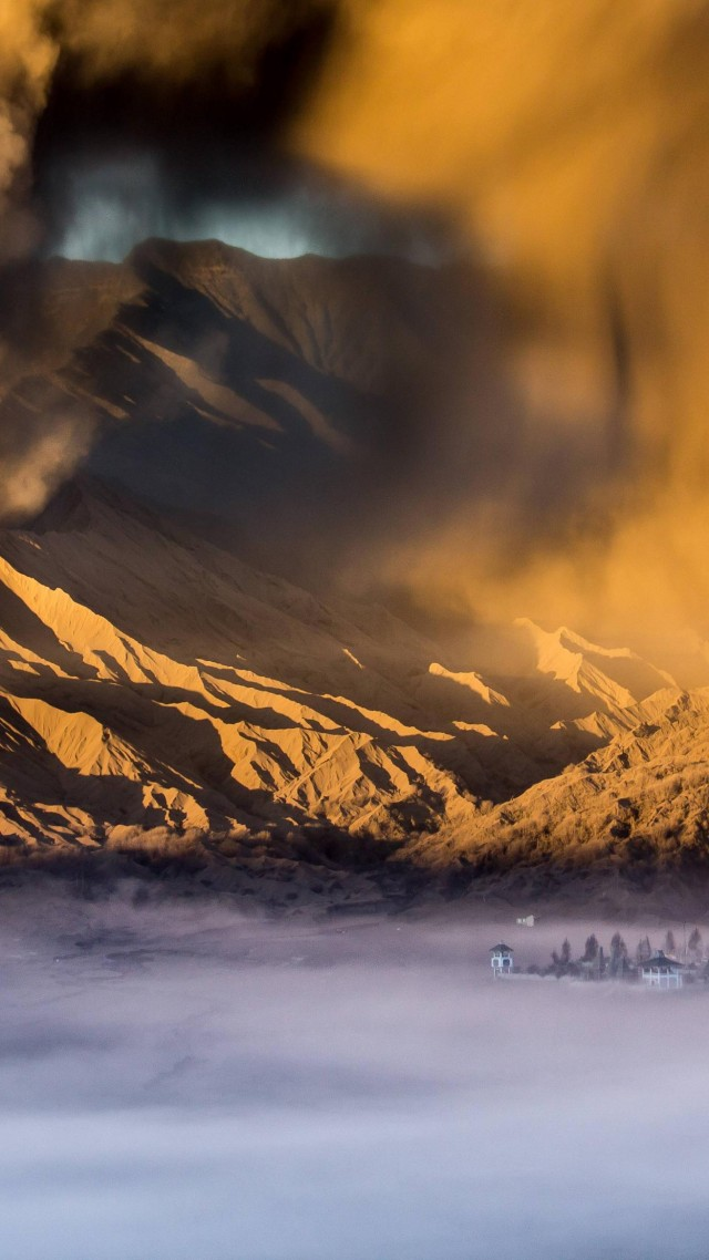 Sandstorm, City, Valley, Clouds, Desert, Mountains