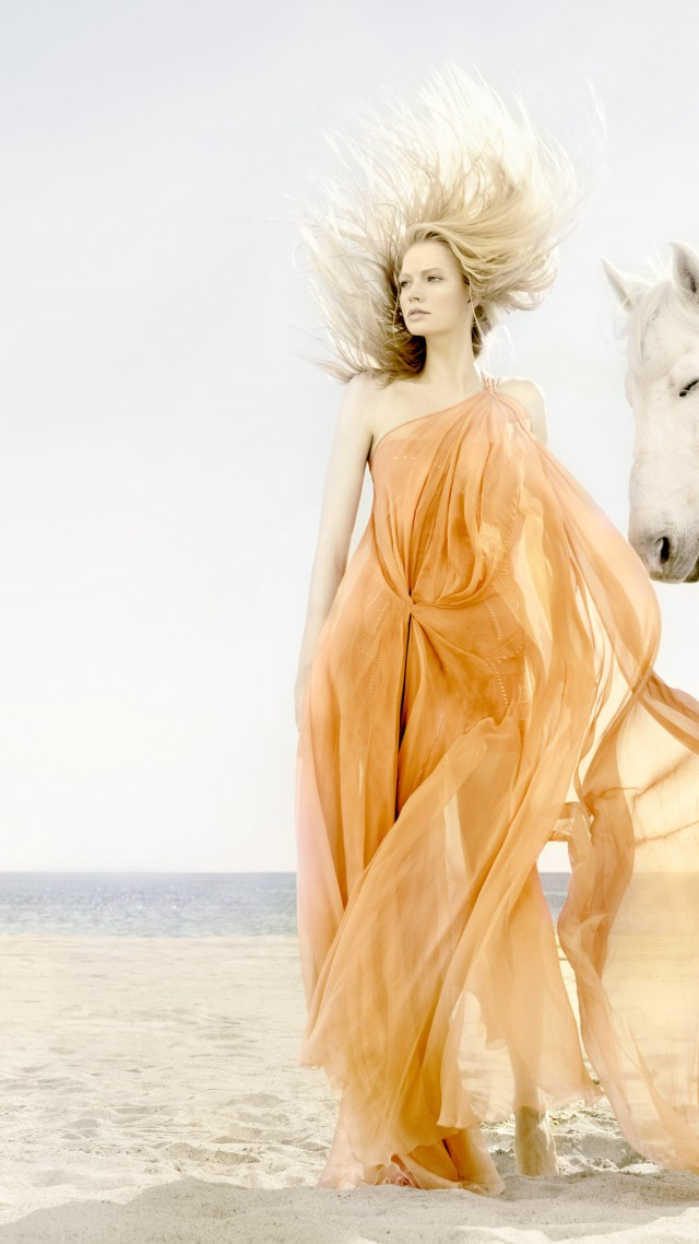 Katia Elizarova, model, blonde, horse, beach, yellow, sand, sea, wind (vertical)