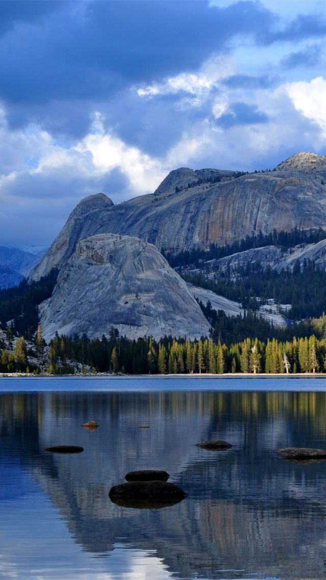Half Dome, mountain, Yosemite, National Park, California, forest, lake, 4k (vertical)