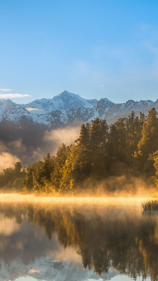 autumn, fog, forest, lake, mountains, 4k (vertical)