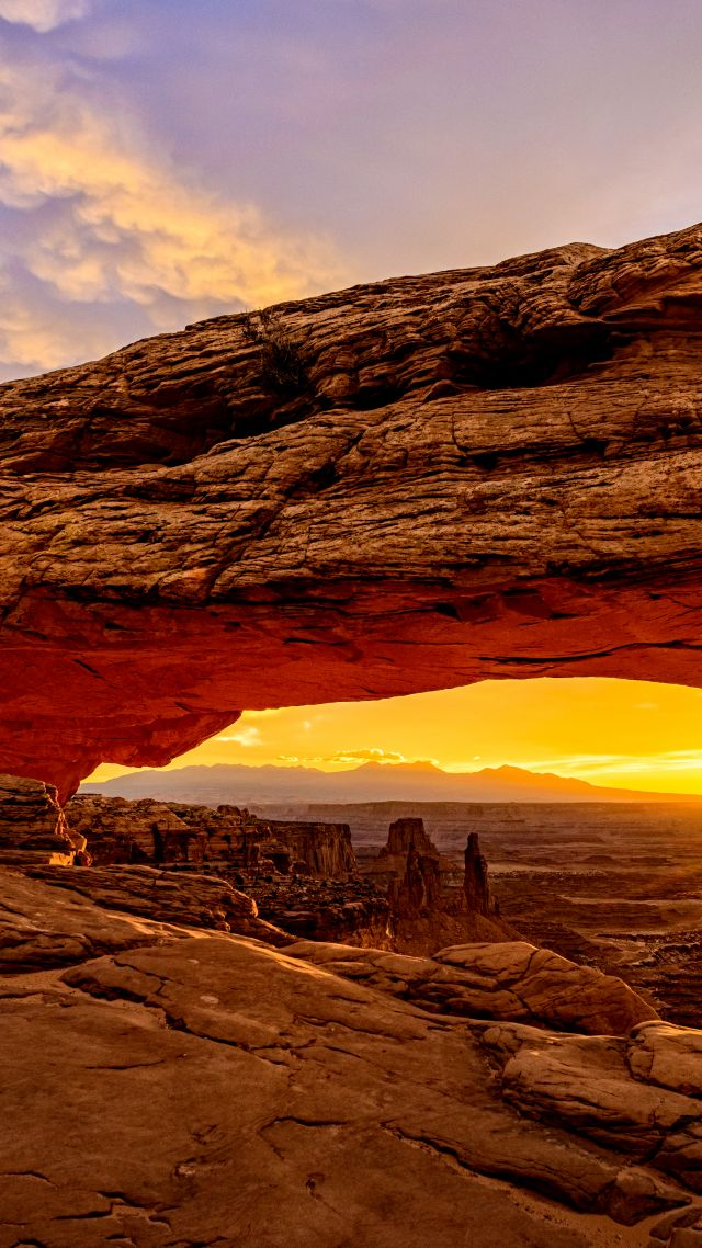 Mesa Arch, Utah, USA, mountains, sunrise, 8k (vertical)