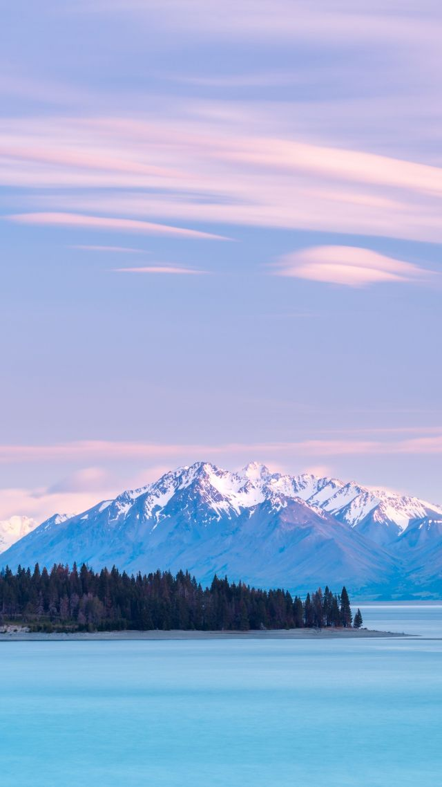 Lake Tekapo, New Zealand, mountains, sky clouds, 8k (vertical)