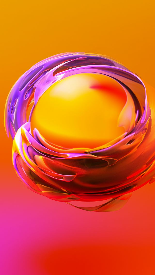 sphere, 3D, orange, yellow, HD (vertical)