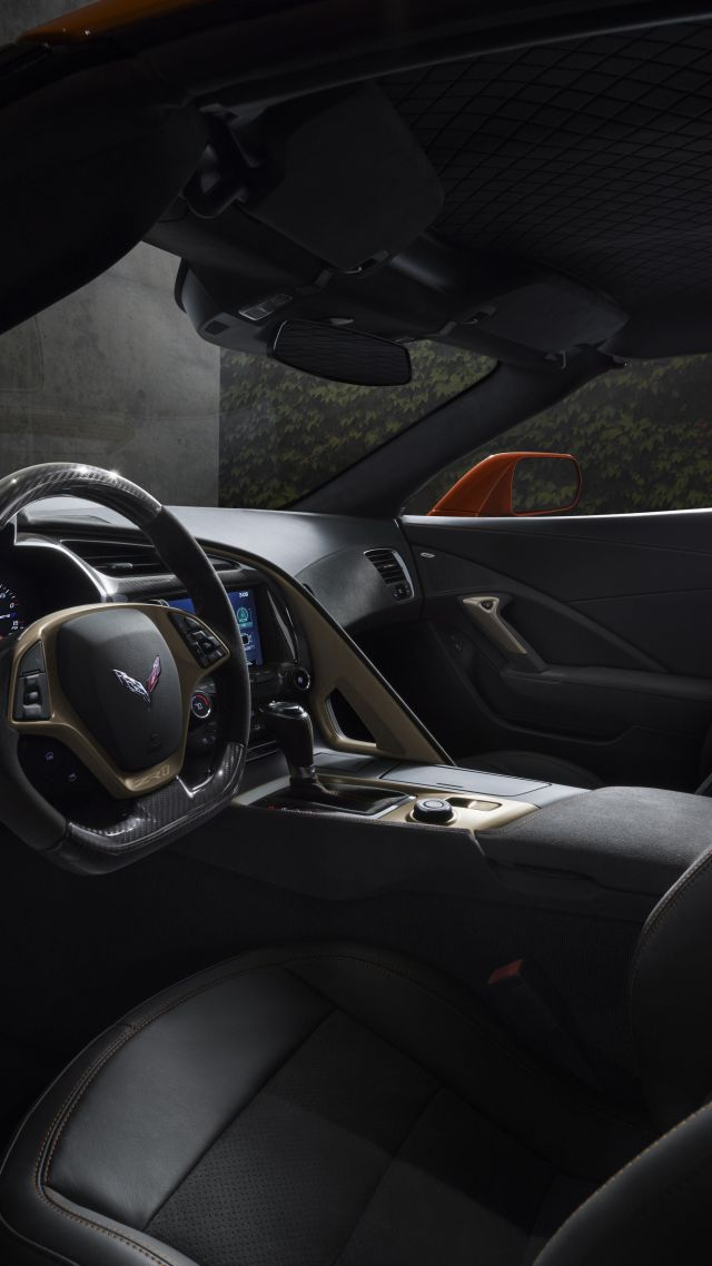 Chevrolet Corvette ZR1, interior, 2018 Cars, 8k (vertical)