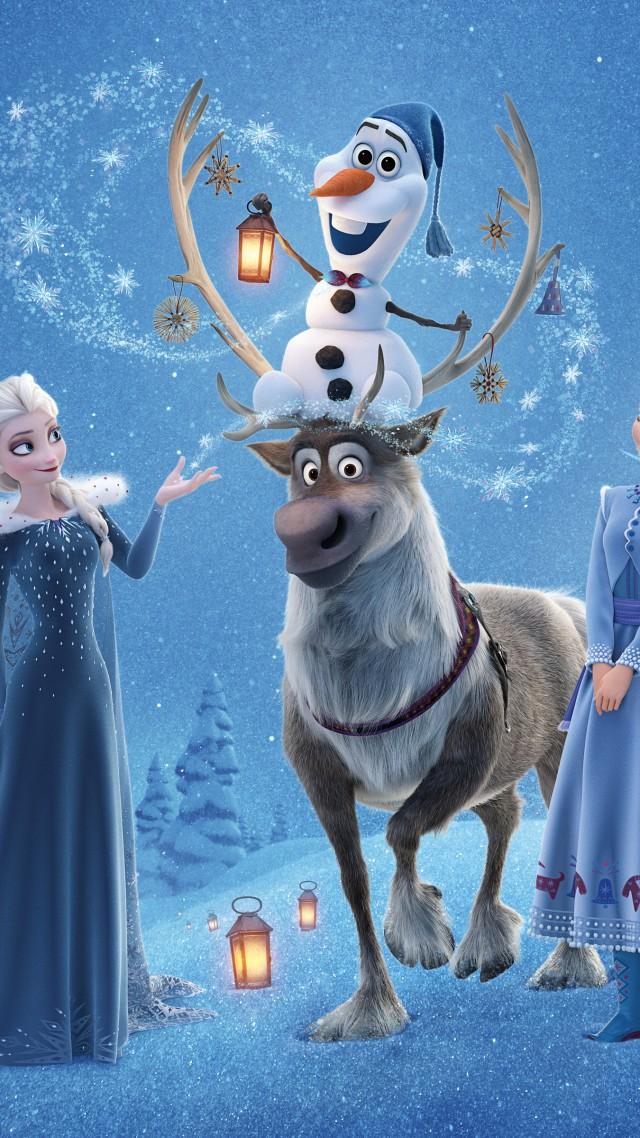 Olafs Frozen Adventure Elsa Anna Winter Deer Snow 4k