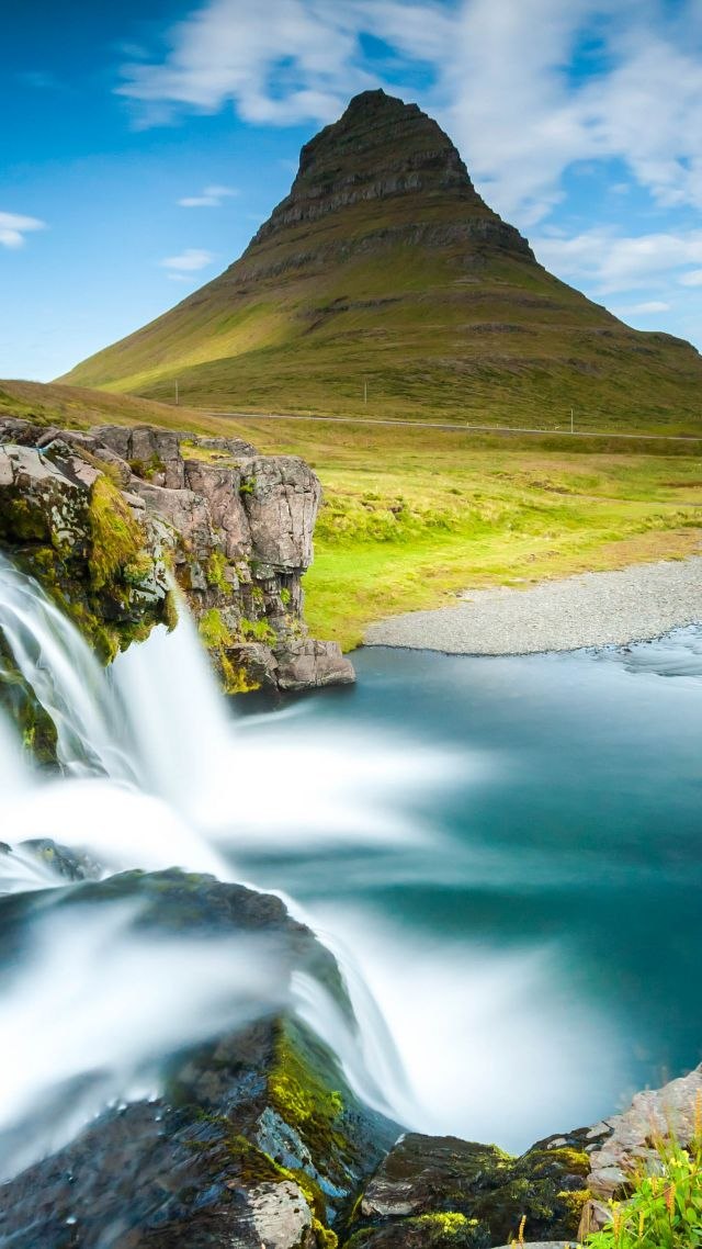 Reykjavik, Iceland, waterfall, river, mountain, 4k (vertical)