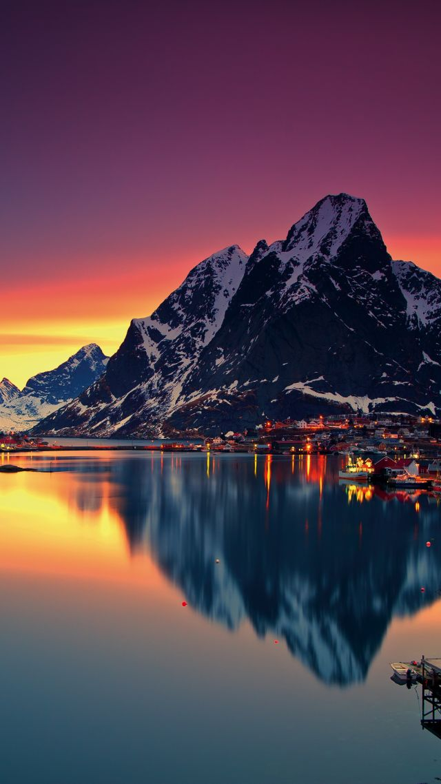 Norway, Lofoten islands, Europe, Mountains, sea, sunrise, 5k (vertical)