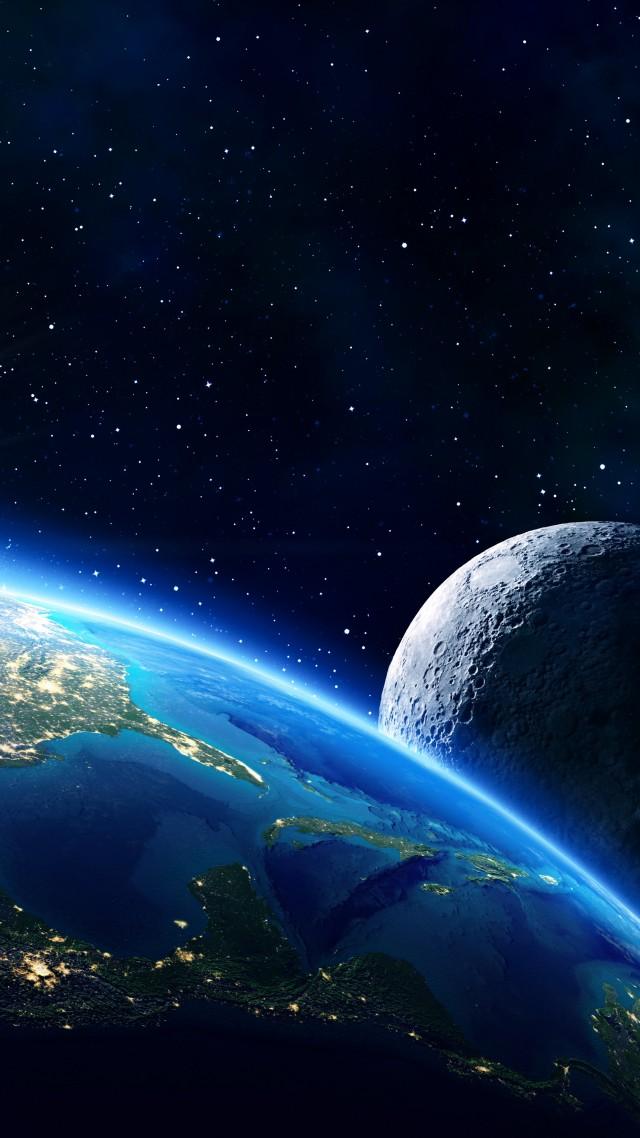 Earth Moon Planet Star 5k Vertical