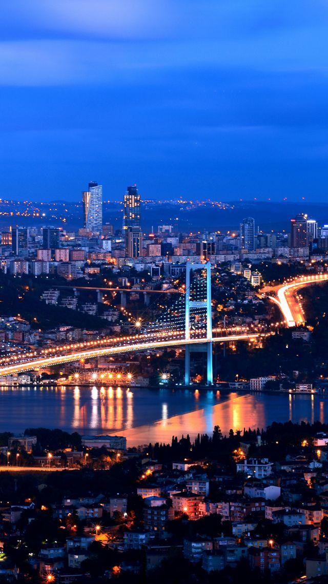 Turkey Istanbul Night 4k Vertical
