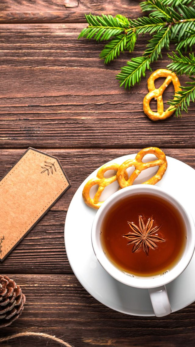 Christmas, New Year, table, fir-tree, tea, 5k (vertical)