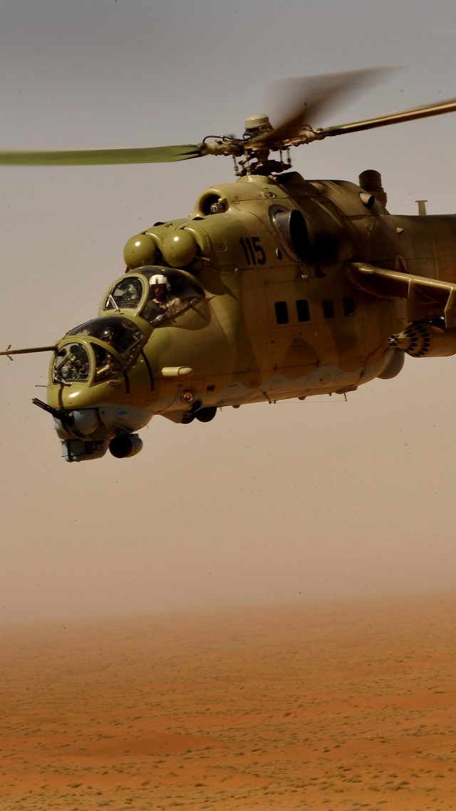 Mi-35, Mil, Sabre, attack helicopter, flying tank, Russian Army, Russia, desert (vertical)