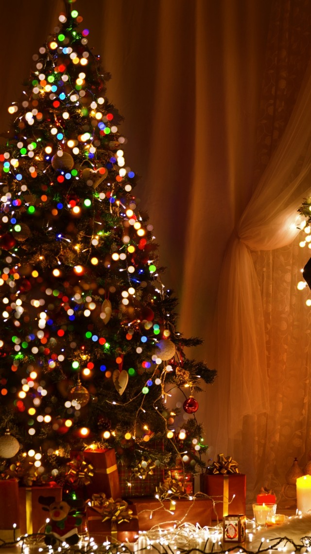 Christmas, New Year, toys, fir-tree, fireplace, decorations, 4k (vertical)