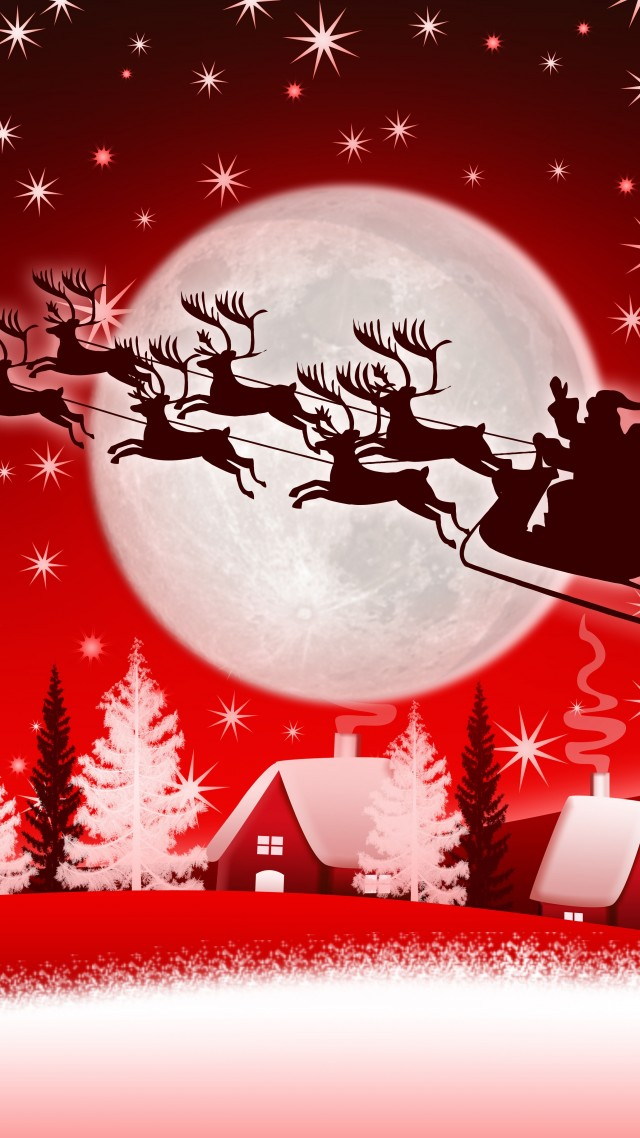 christmas new year santa deer moon winter 8k vertical