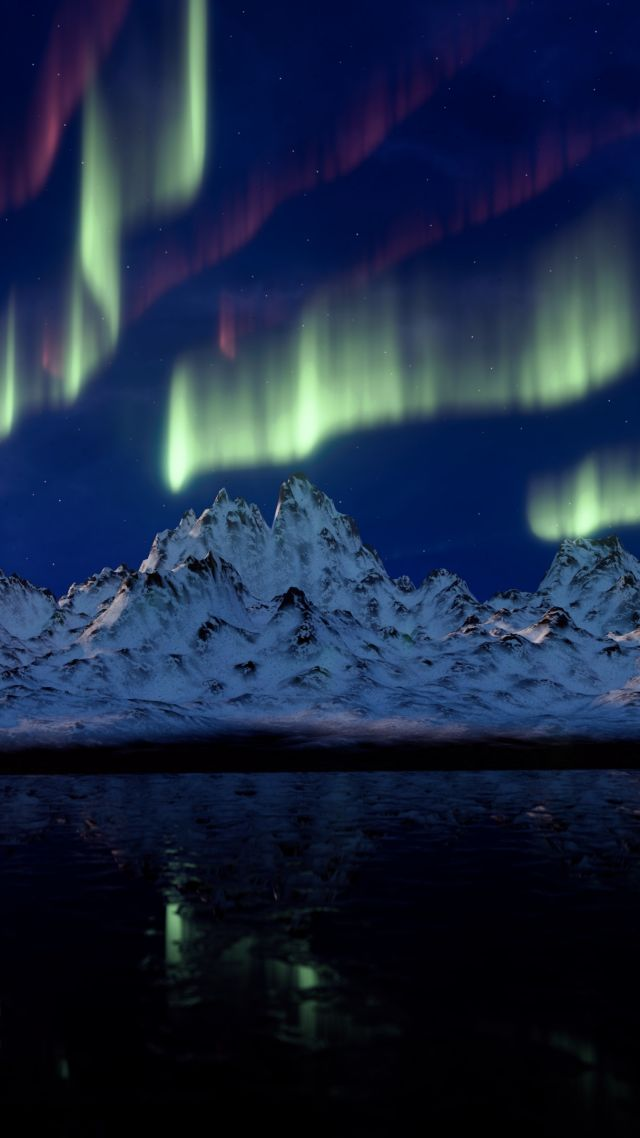 northern lights, mountains, 4k (vertical)