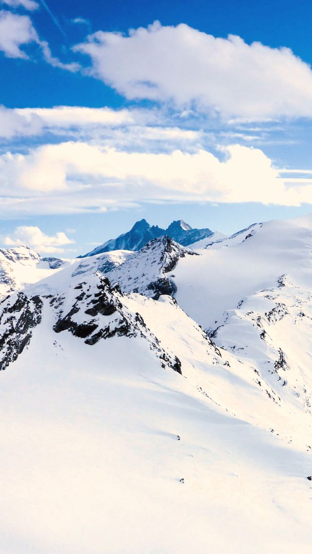 Grossglockner, mountains, Austria, snow, winter, sky, clouds, 5k (vertical)