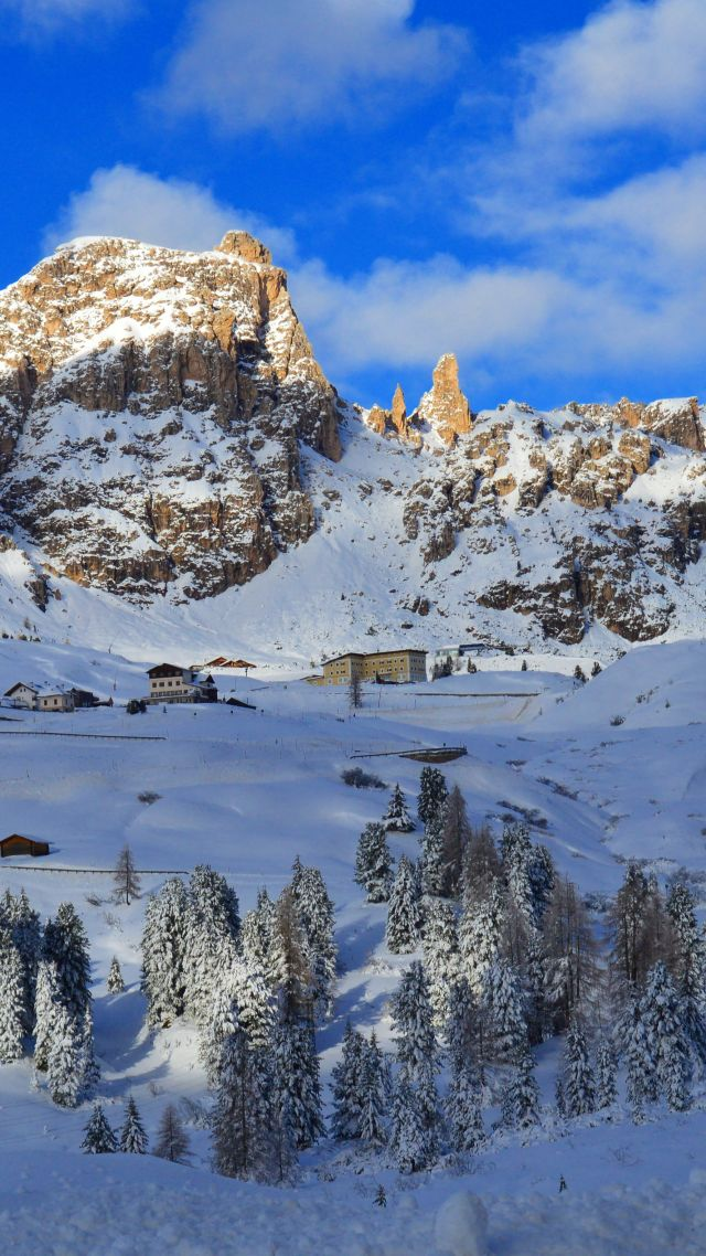 Dolomites, Alps, mountains, snow, winter, trees, 5k (vertical)
