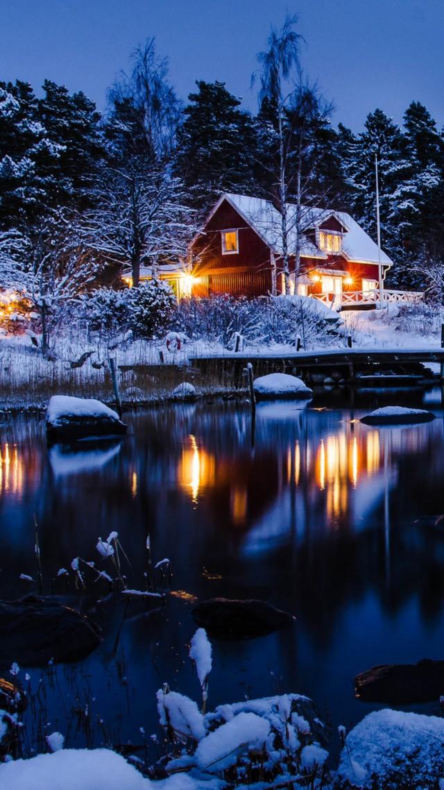 Wallpaper House Lake Trees Winter 5k Nature 17375