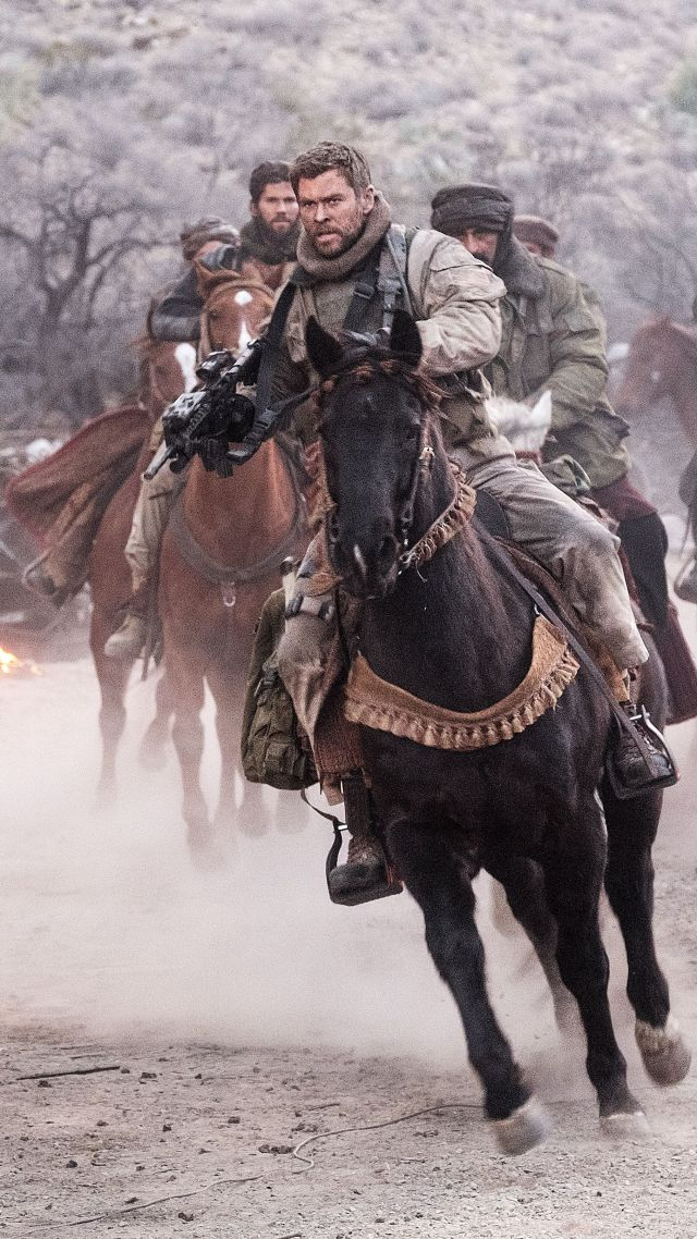 12 Strong, Chris Hemsworth, horse, 4k (vertical)