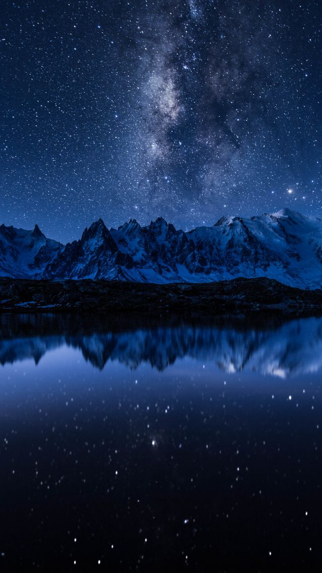 stars, mountains, lake, 5k (vertical)