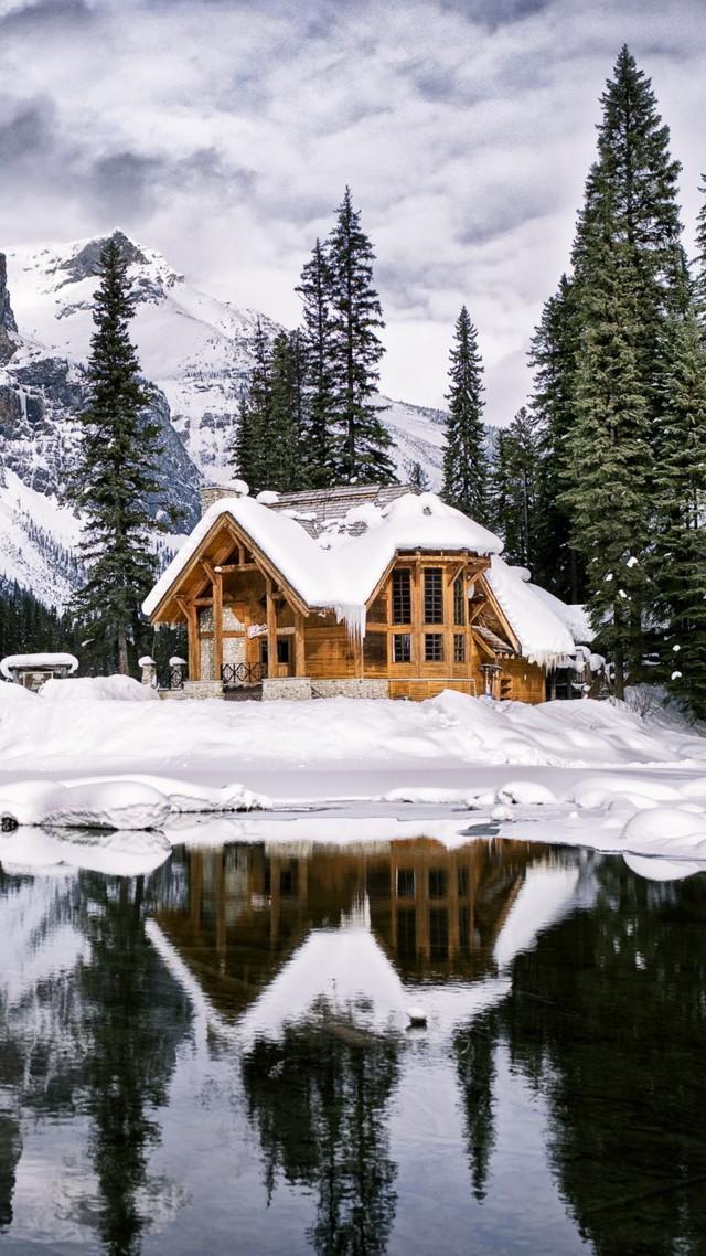 Wallpaper Mountains House Lake Trees Winter 4k Nature