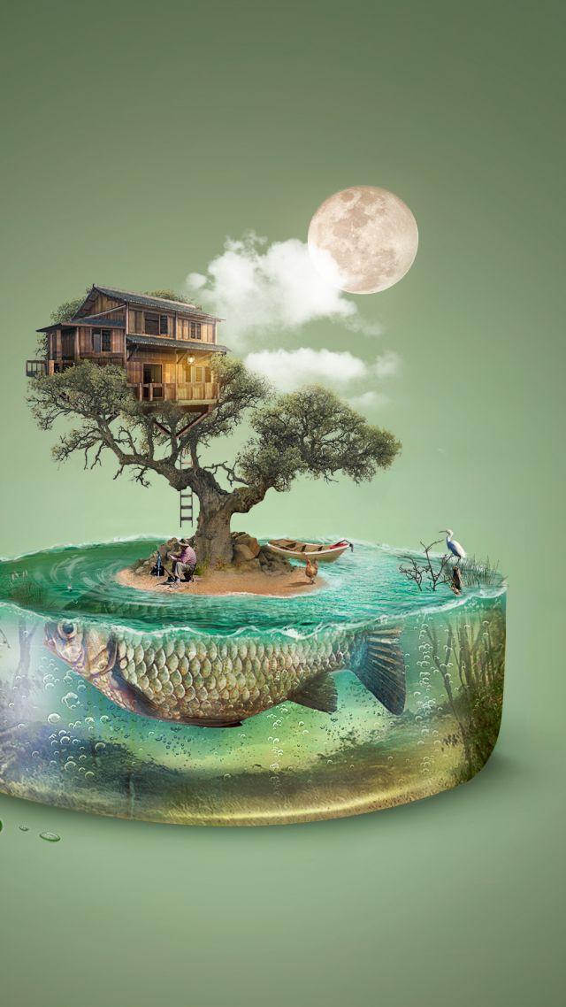 Wallpaper Art Tree Fish Island House Underwater 4k
