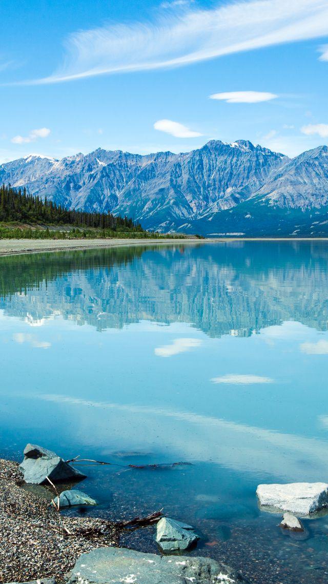 wallpaper lake shore mountains 4k nature 17795