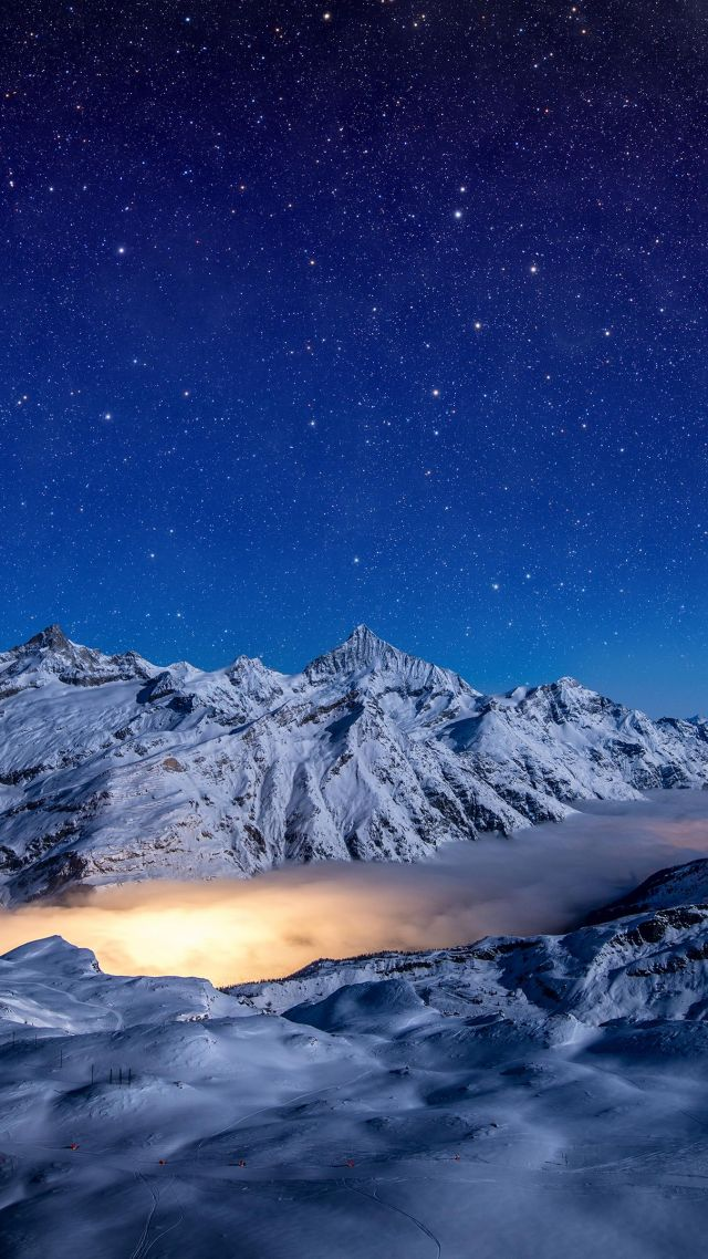 night, mountains, sky, stars, 4k (vertical)