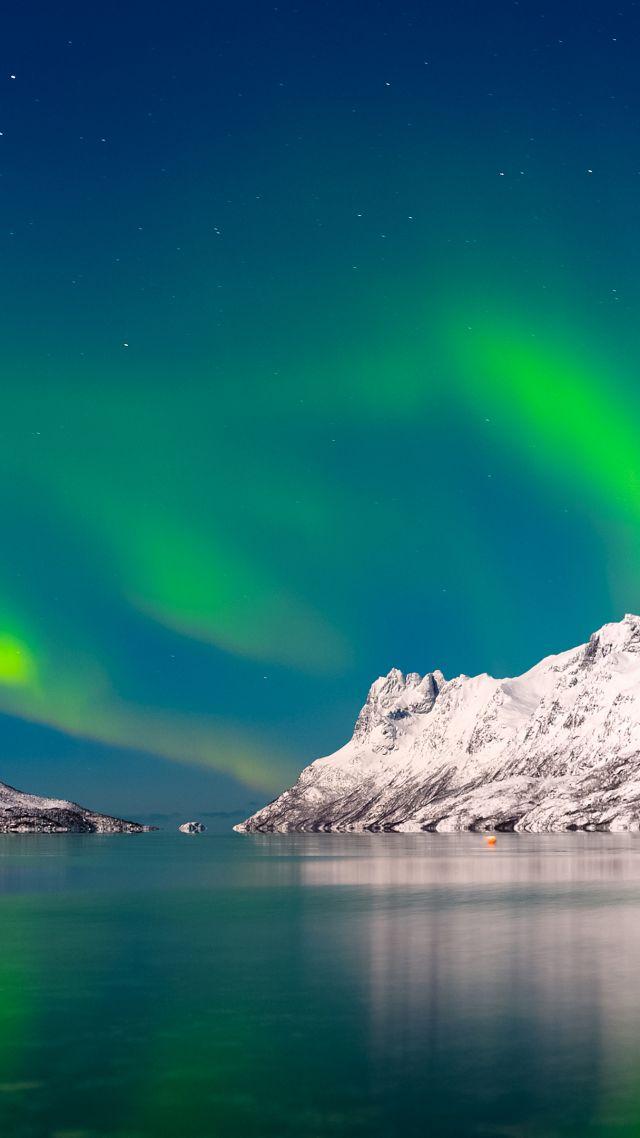 Wallpaper Aurora Borealis Sky Winter Mountains Lake 4k Nature