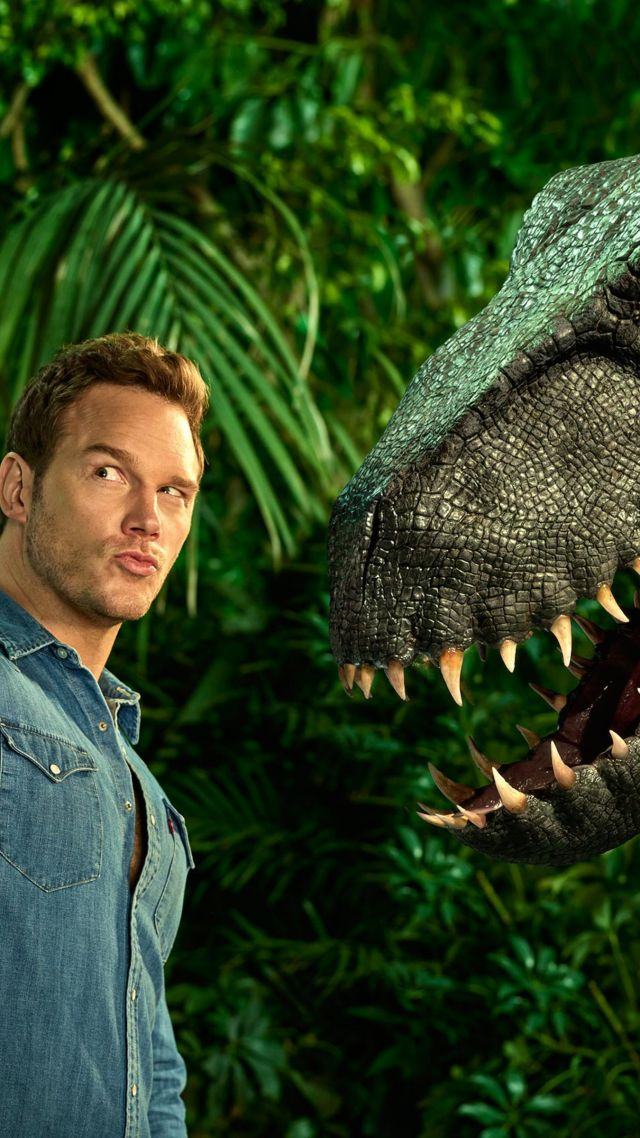 Jurassic World: Fallen Kingdom, Chris Pratt, dinosaur, 4k (vertical)