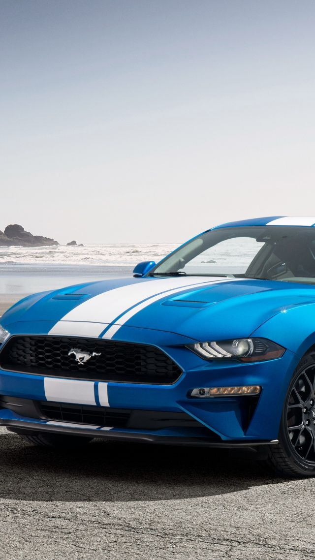 Ford Mustang, muscle car, blue, 2019 Cars, 4K (vertical)