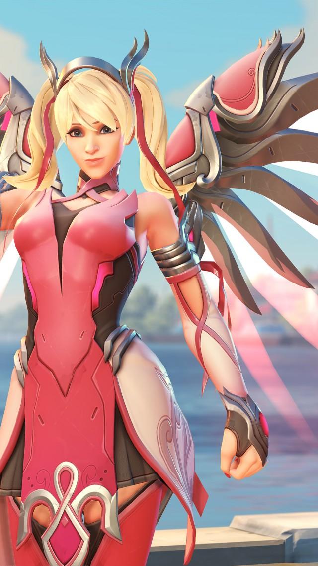 Wallpaper Overwatch Mercy Pink Mercy Skin Screenshot 4k