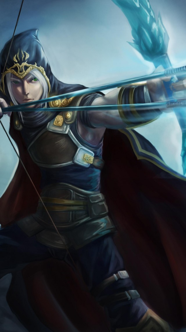 League of Legends, game, lol, MOBA, Archer, warrior, bow, arrows, coat, sight, screenshot, 4k, 5k, PC, 2015 (vertical)