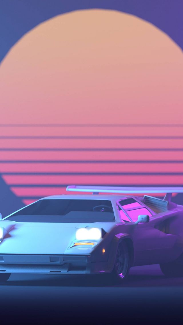 Retrowave, Purple, Lamborghini Countach, 4K (vertical)